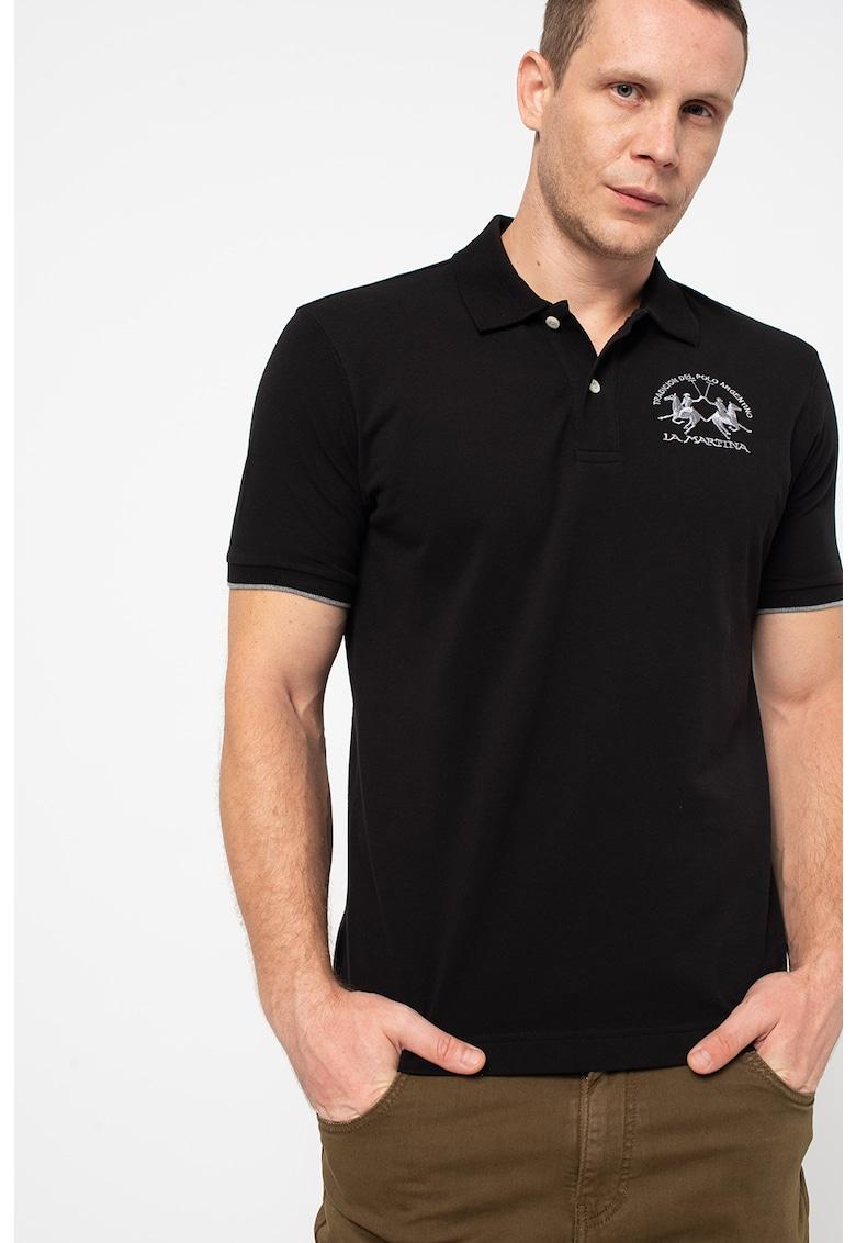 LA MARTINA Tricou polo din material pique cu broderie logo