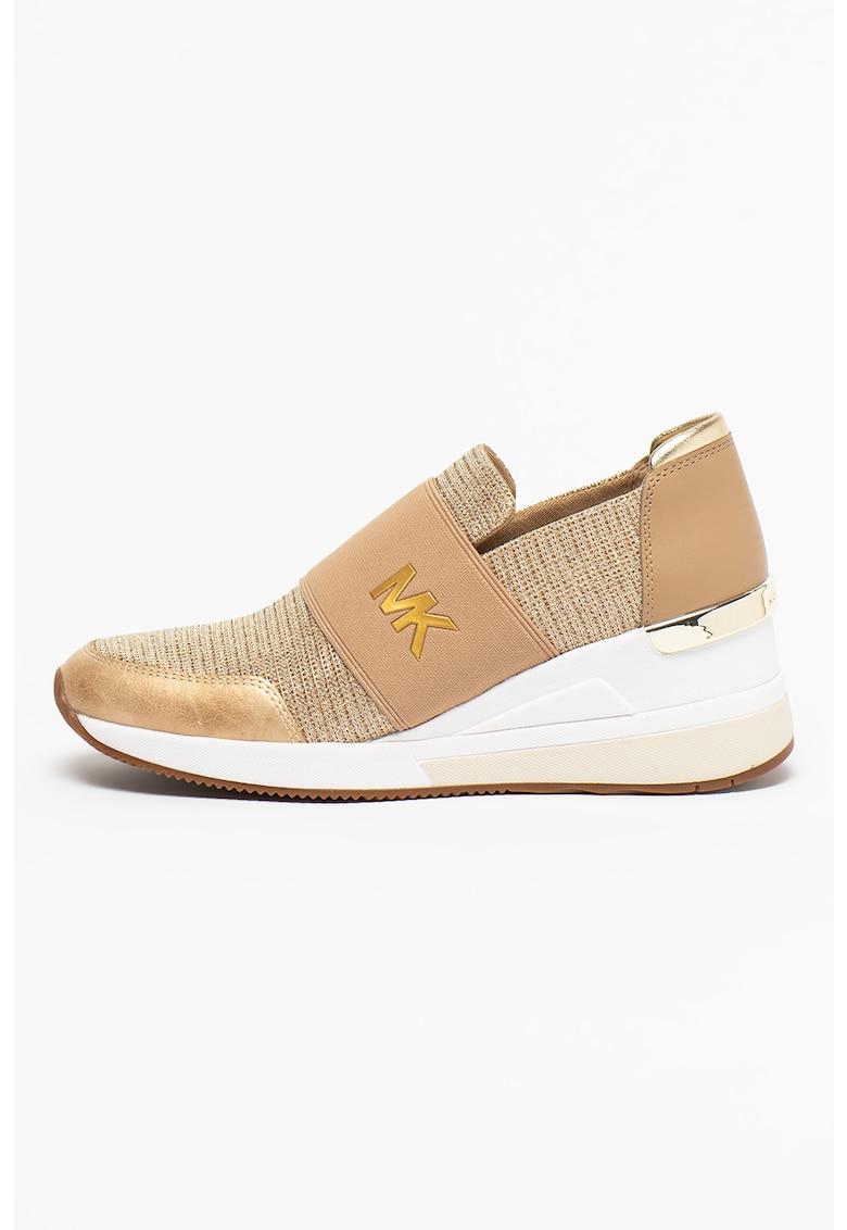 Pantofi sport slip-on wedge cu aplicatie logo