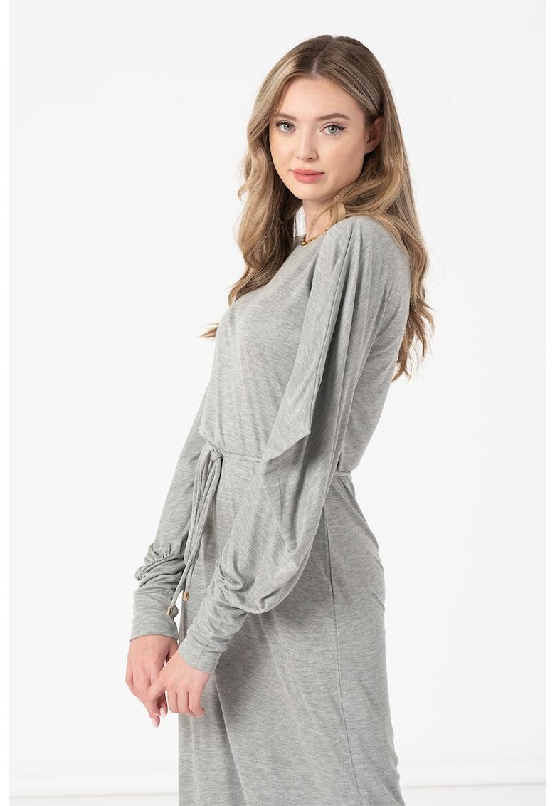 Rochie midi de jerseu cu slit lateral