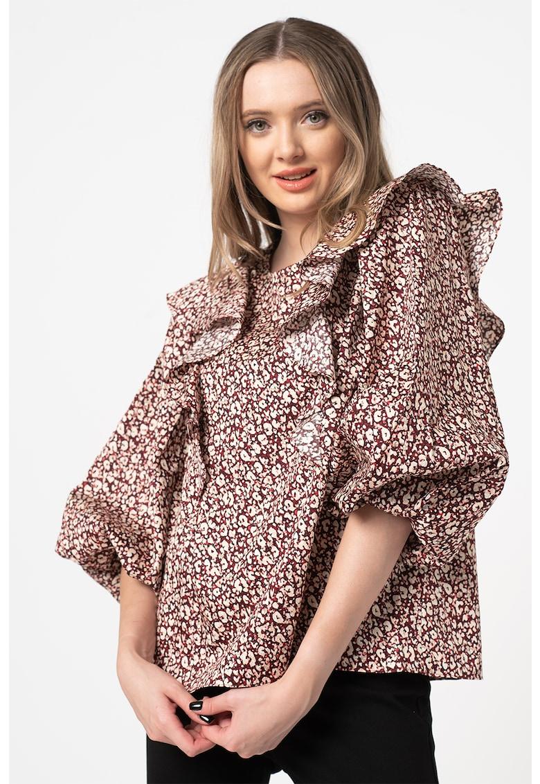 Bluza cu animal print si aplicatii cu volane Sanjaa