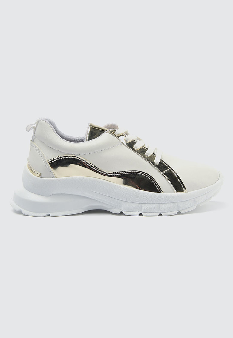 Pantofi sport de piele ecologica cu detalii metalizate