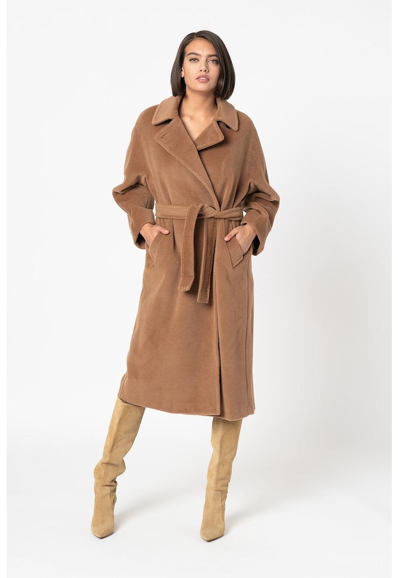 Palton lung din lana virgina cu cordon detasabil in talie Bavero