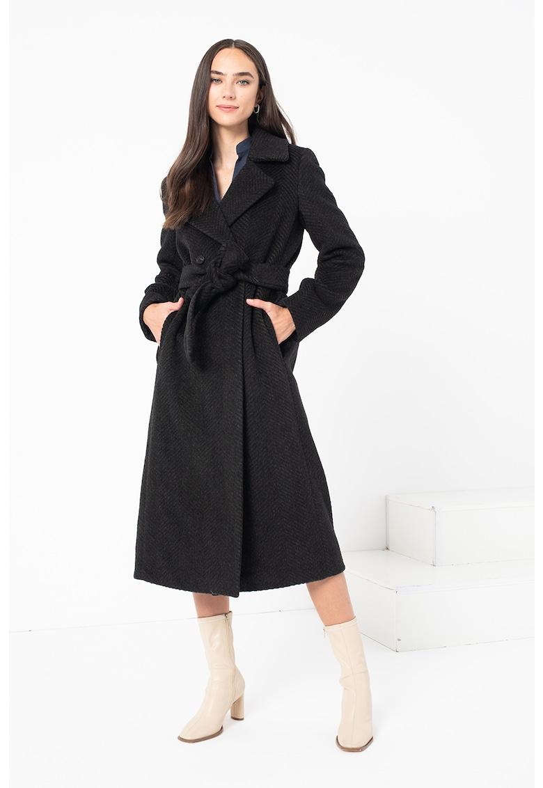 Palton din amestec de lana virgina cu o curea Camera
