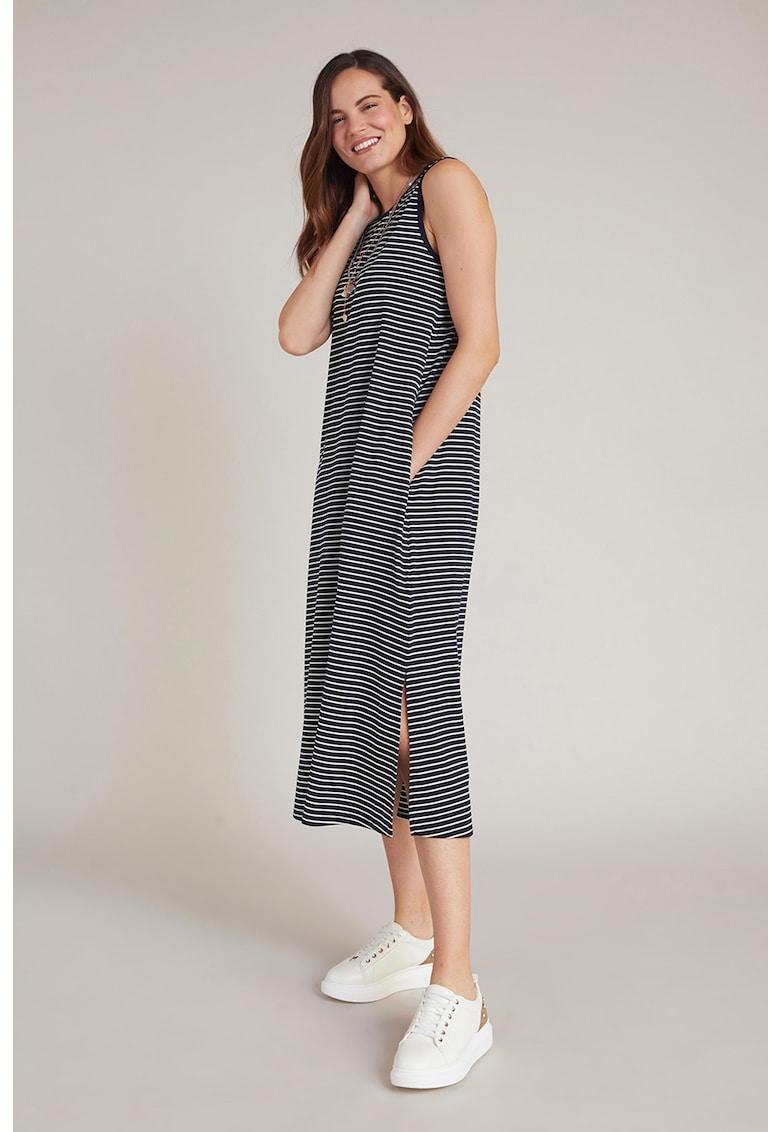 Rochie midi cu model in dungi si slituri laterale