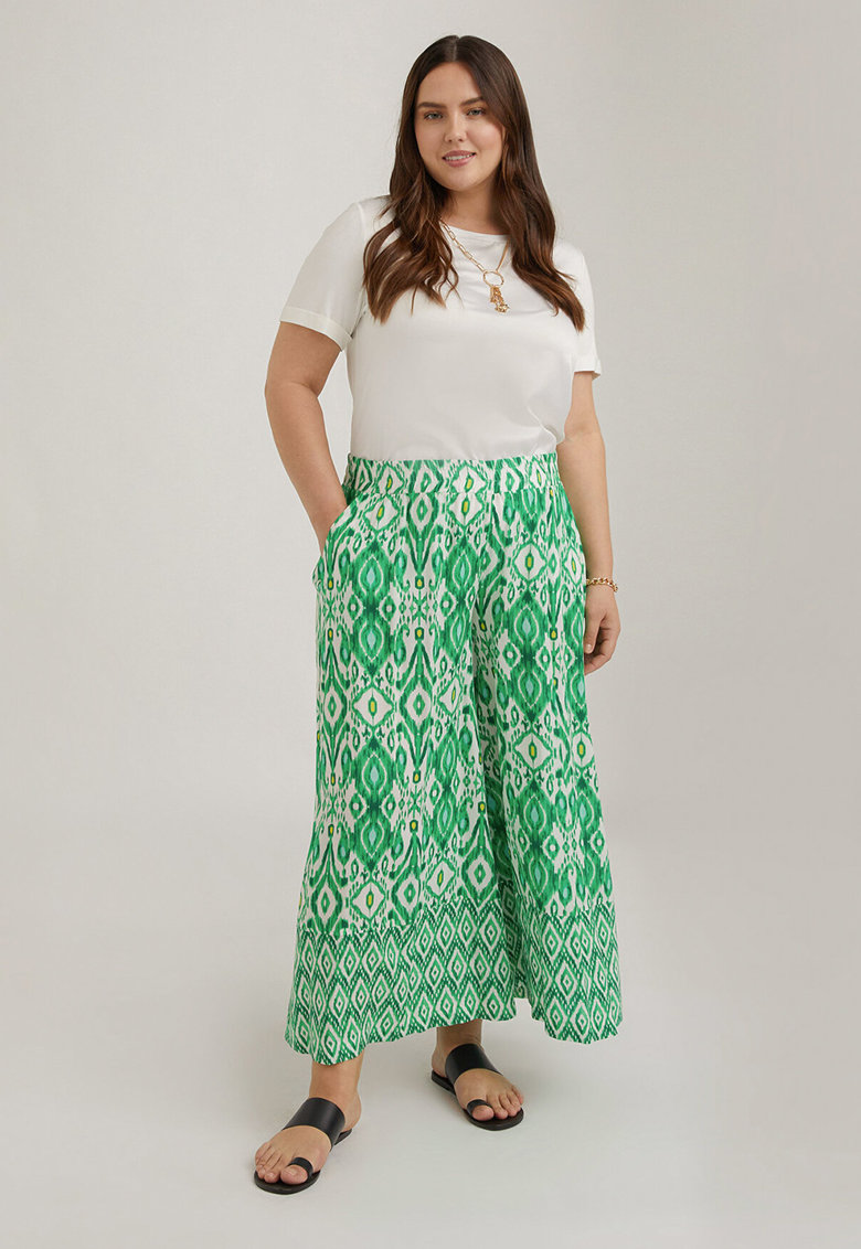 Fiorella Rubino Pantaloni cu croiala ampla – talie inalta si model geometric