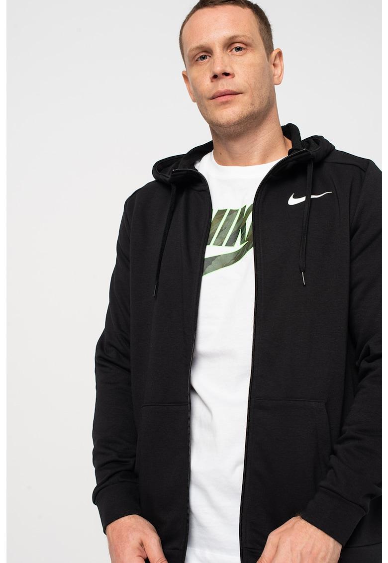 Nike Hanorac cu imprimeu logo – fermoar si tehnologie Dri-Fit – pentru antrenament