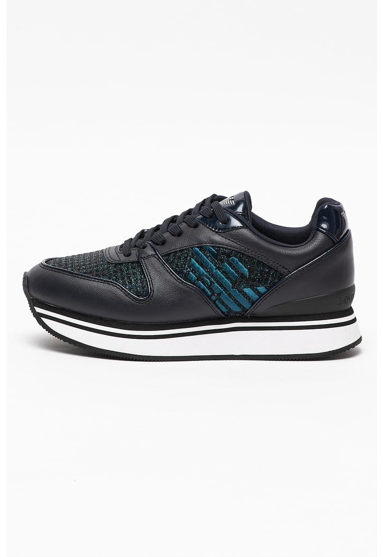 Pantofi sport din piele si piele ecologica cu insertii din plasa