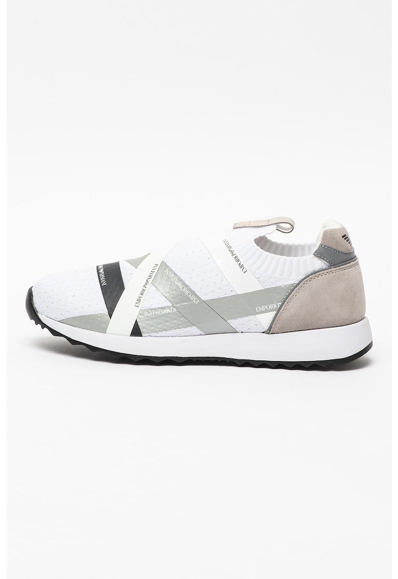 Pantofi sport slip-on din plasa tricotata cu benzi logo contrastante
