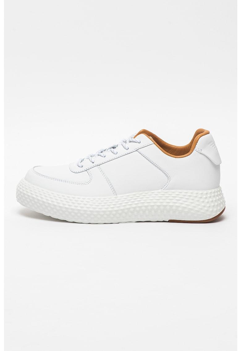 Pantofi sport low-top din piele si piele ecologica cu talpa texturata