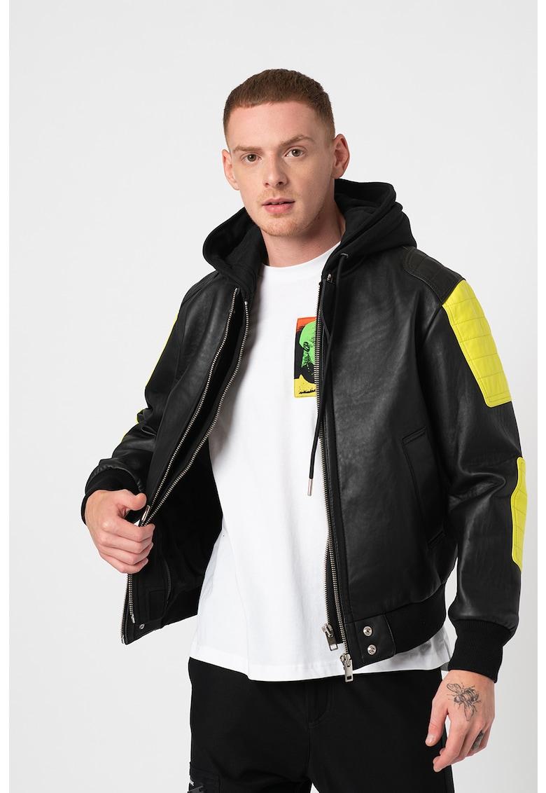 Jacheta din piele cu segmente contrastante L-Brando