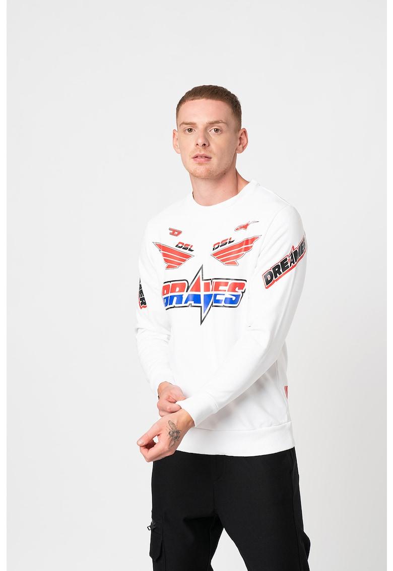 Bluza sport cu decolteu rotund si imprimeu grafic Astars