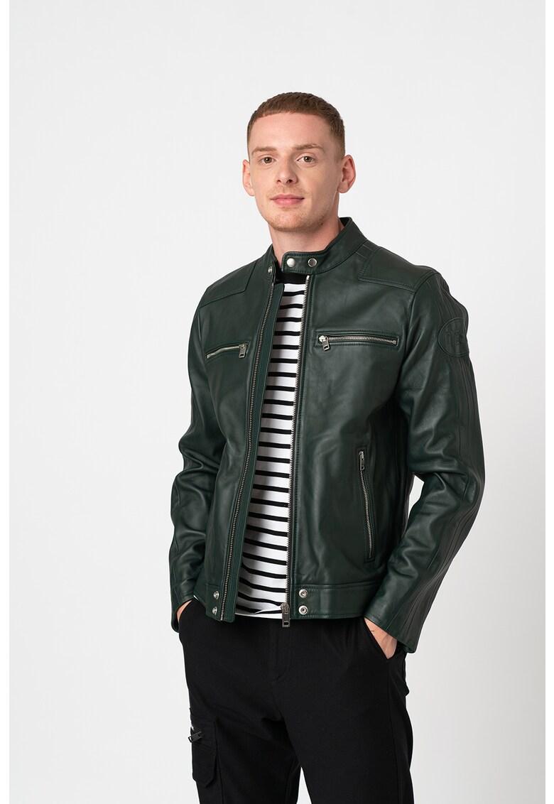Jacheta din piele cu buzunare multiple