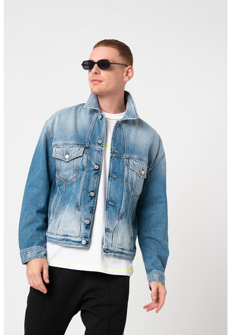 Jacheta de denim cu aspect decolorat D-Bristy