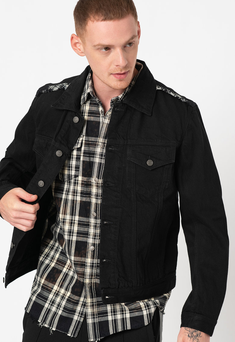 Set de jacheta de denim si camasa fara maneci NHILL