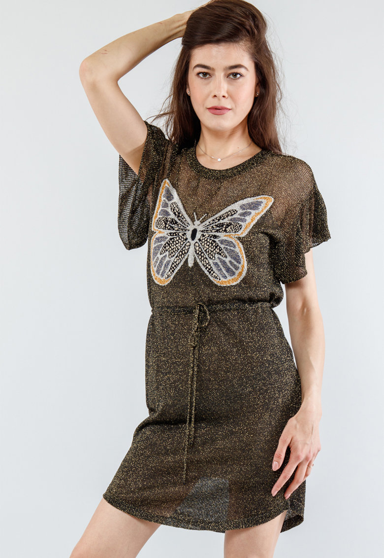 Rochie stralucitor cu detaliu fluture din material jacquard