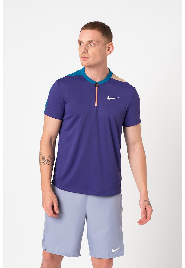 Tricou cu tehnologie Dri fit si fenta cu fermoar scurt - pentru tenis Court
