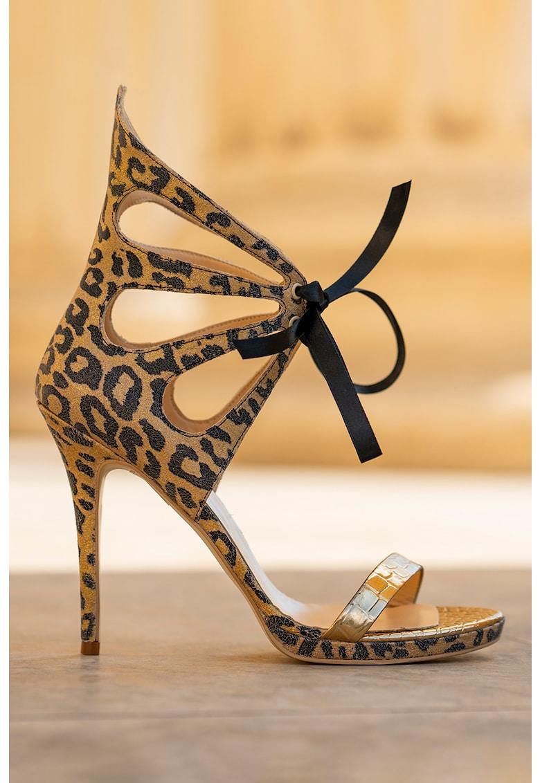 Sandale de piele cu barete multiple si animal print Desiree
