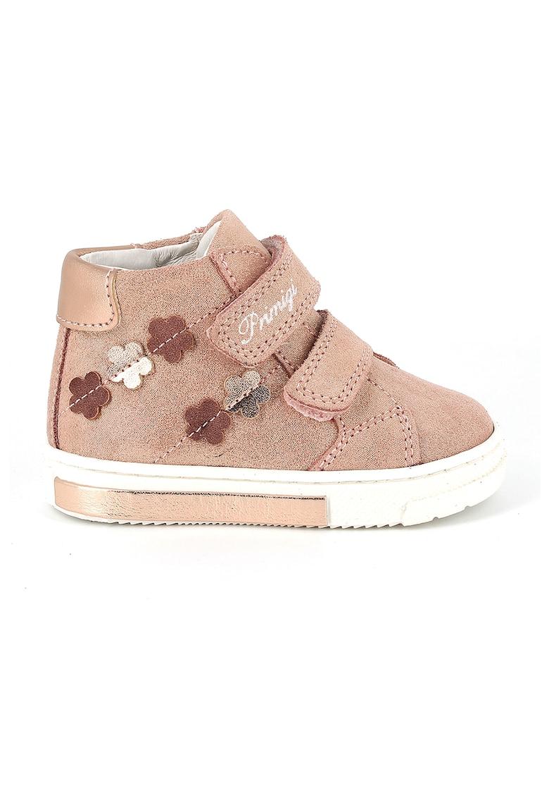 Pantofi sport de piele intoarsa cu aspect stralucitor si velcro