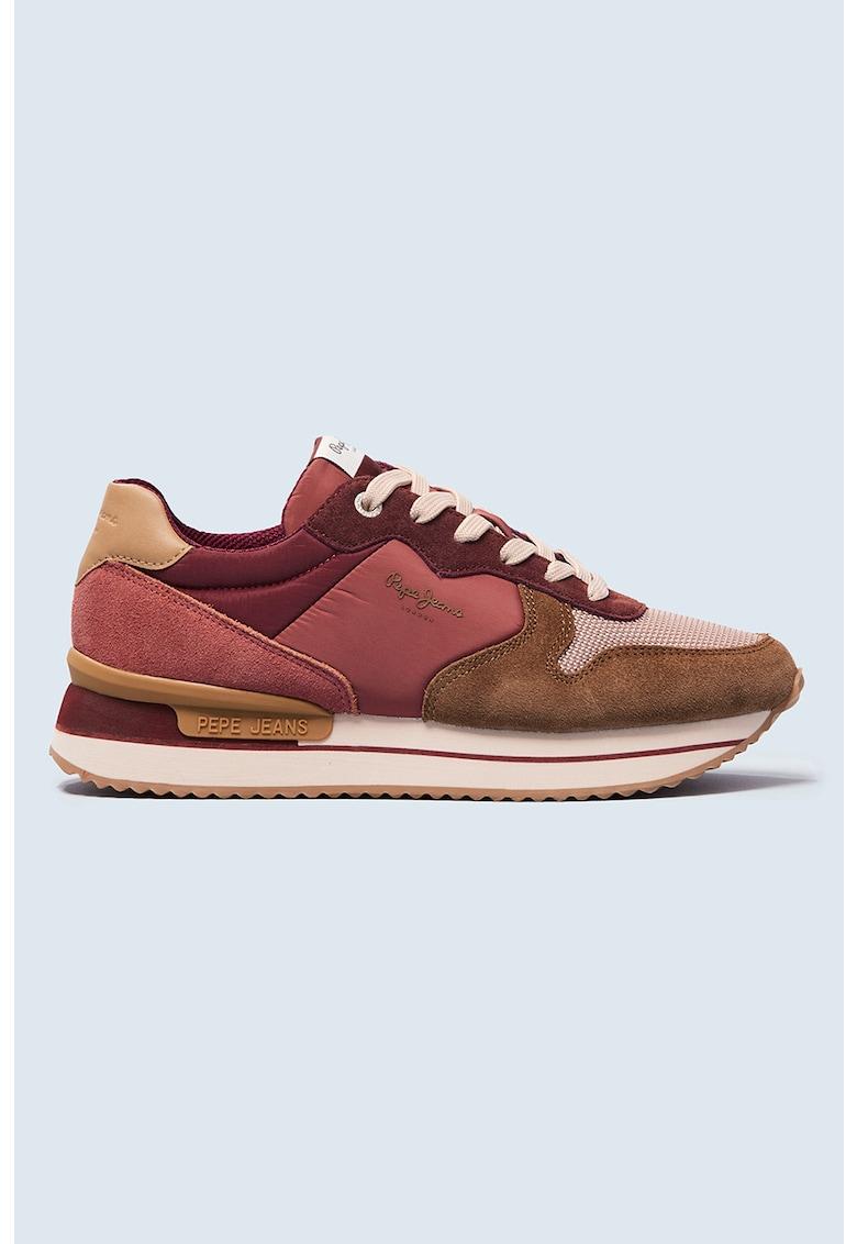 Pantofi sport cu model colorblock si insertii din piele intoarsa