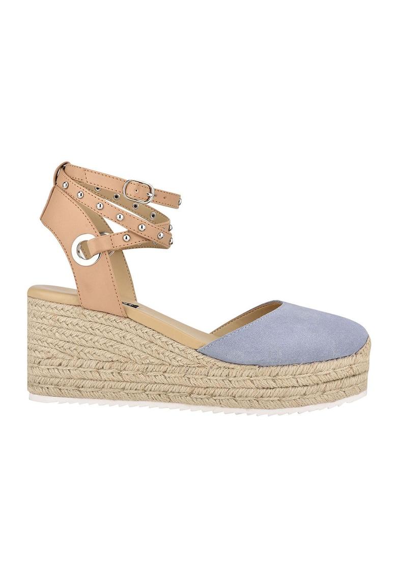Sandale-espadrile wedge cu insertii de piele intoarsa Adore