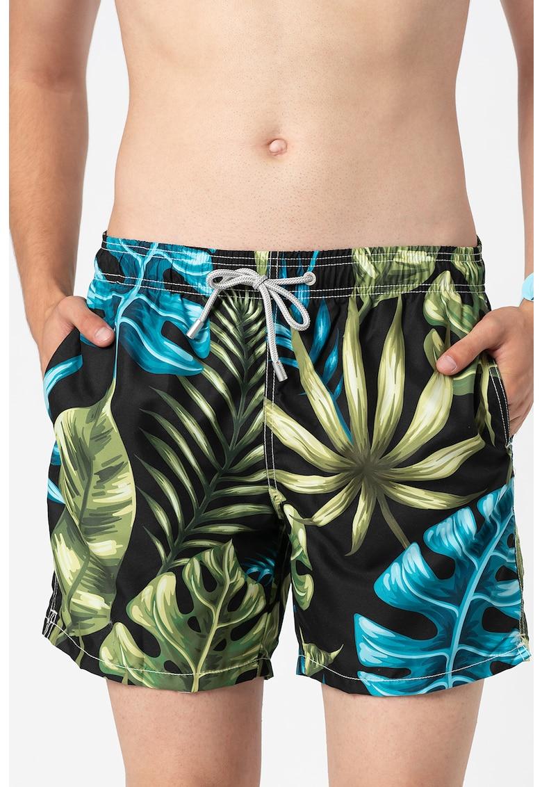 Pantaloni scurti de baie cu snur in talie si imprimeu Gustavia