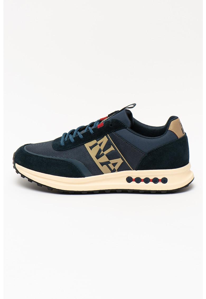 Pantofi sport low-top cu garnituri de piele intoarsa Slate