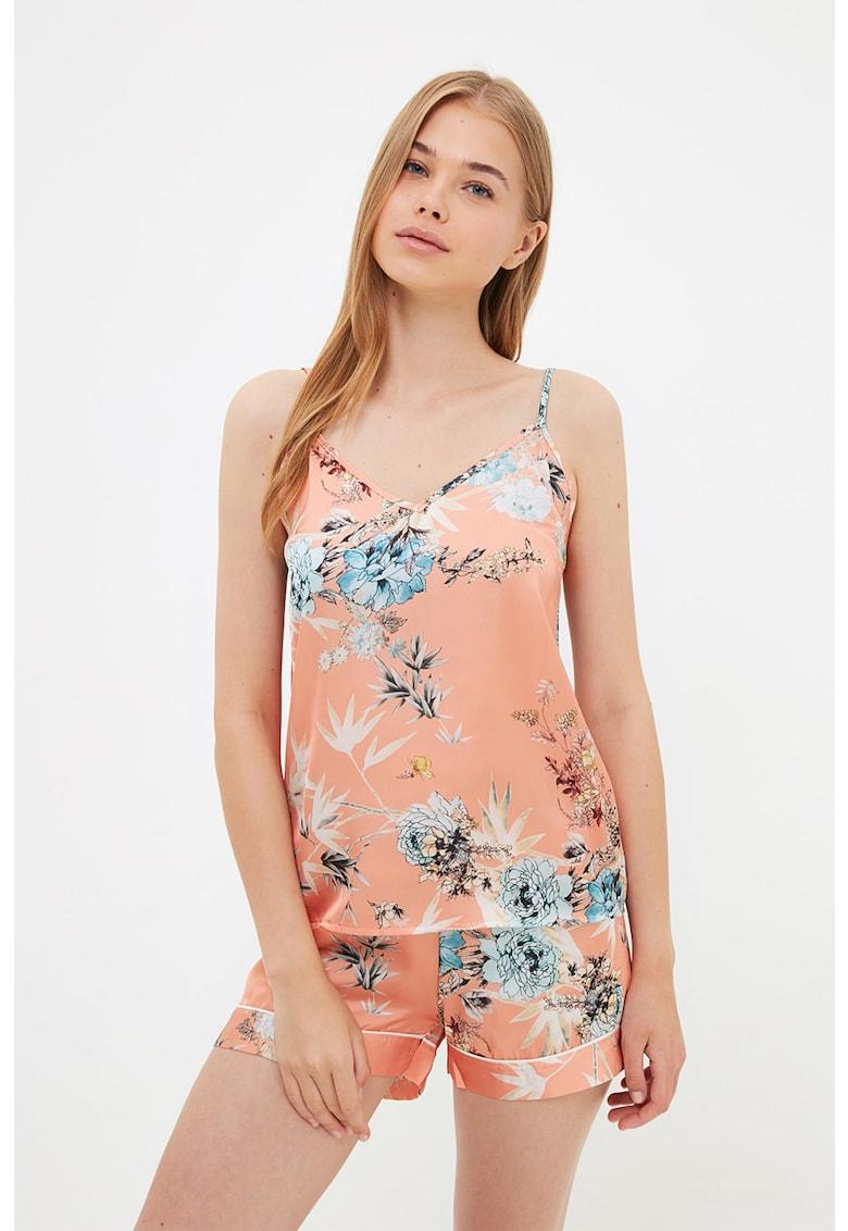 Pijama de satin cu imprimeu floral