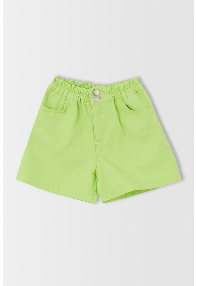 Pantaloni scurti din denim cu talie inalta elastica