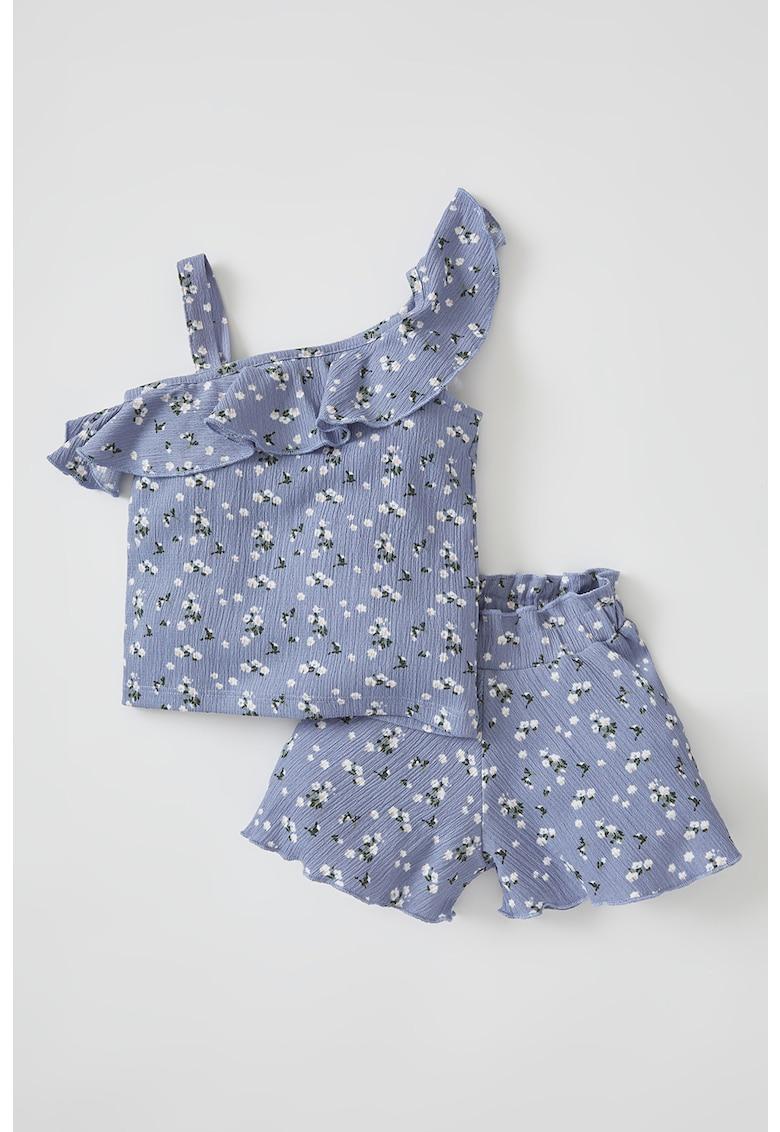Set de bluza si pantaloni scurti cu model floral