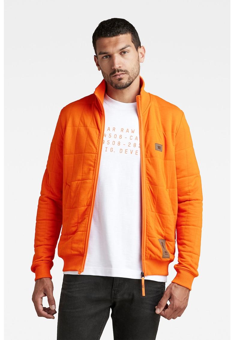 G-Star RAW Bluza sport cu fermoar si aspect matlasat