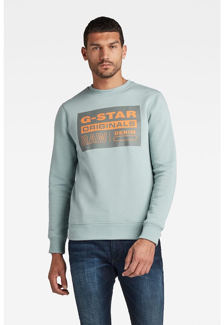 G-Star RAW Bluza sport cu logo si decolteu la baza gatului