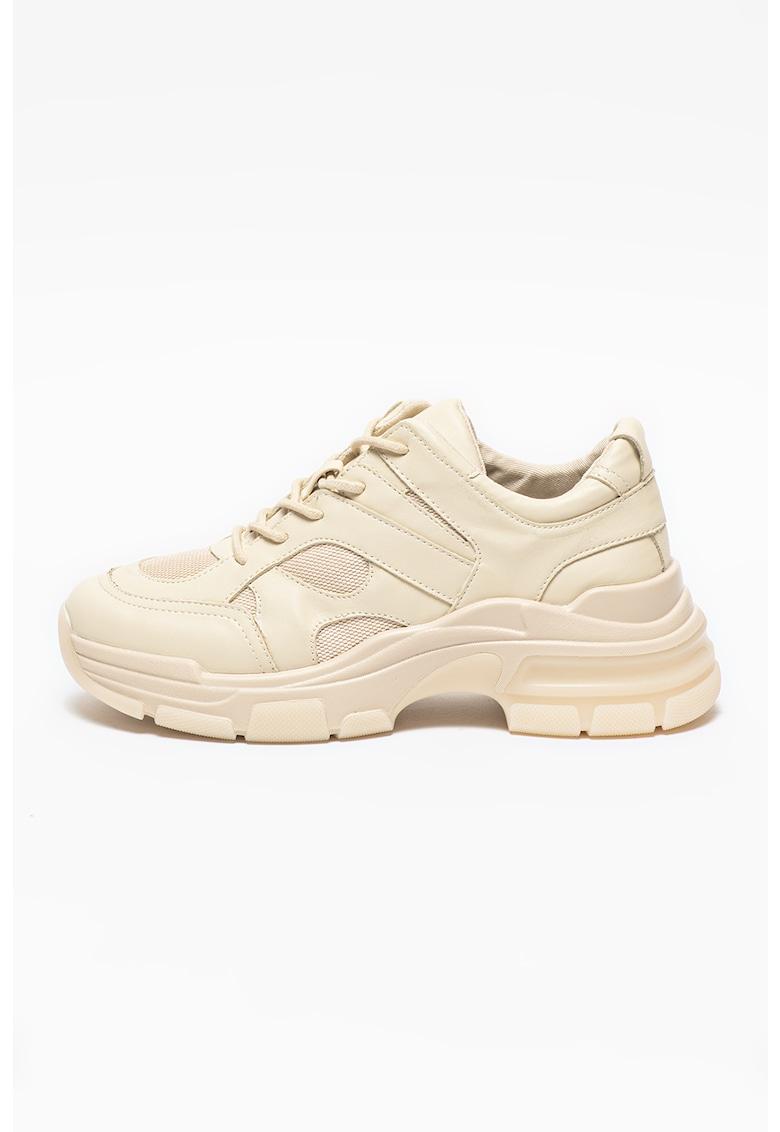 Pantofi sport low top din piele ecologica si plasa Bolt