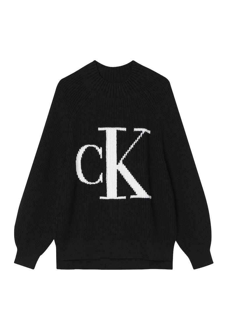CALVIN KLEIN JEANS Pulover din amestec de lana si casmir cu logo
