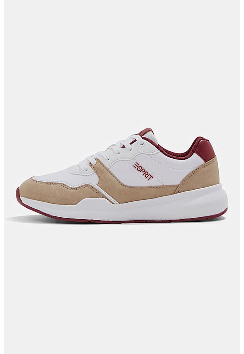 Pantofi sport de piele ecologica cu detalii contrastante