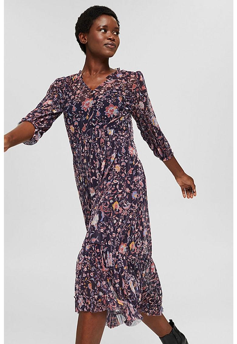 Rochie de plasa - plisata - cu imprimeu floral