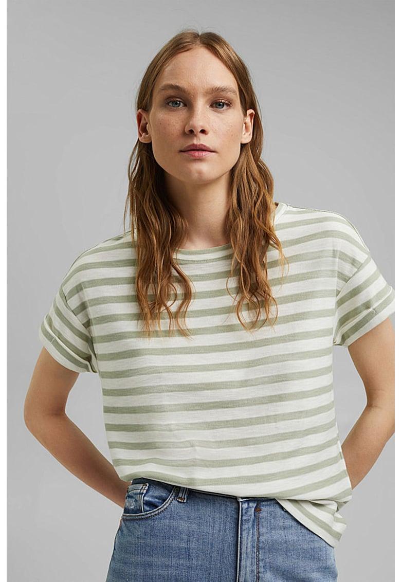 Tricou de bumbac organic cu maneci cazute si model in dungi de la Esprit