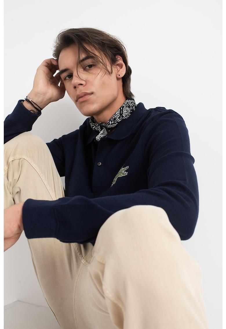 Bluza polo din pique cu logo brodat