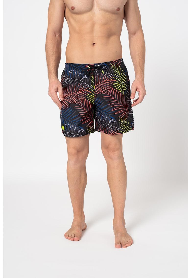 Pantaloni scurti de baie cu imprimeu tropical si snur