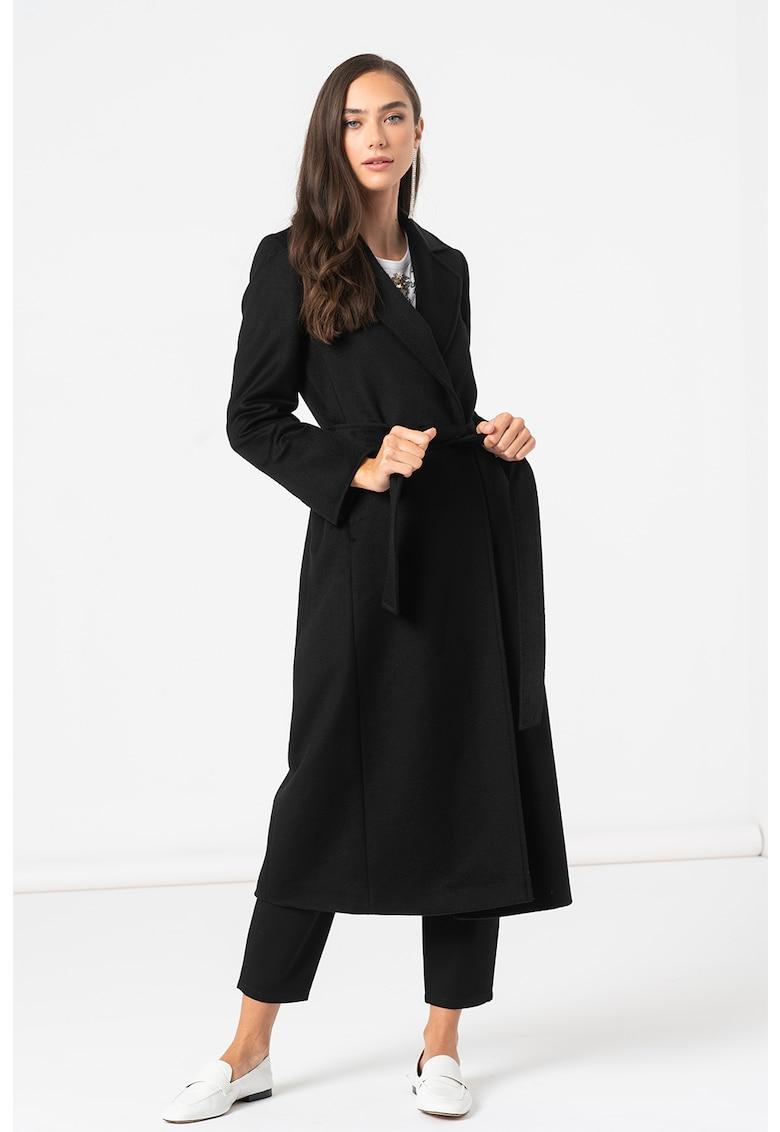 MaxCo Palton de lana cu revere decupate si cordon in talie Longrun