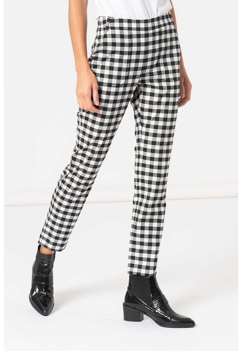 MaxCo Pantaloni slim fit cu model in carouri Metro
