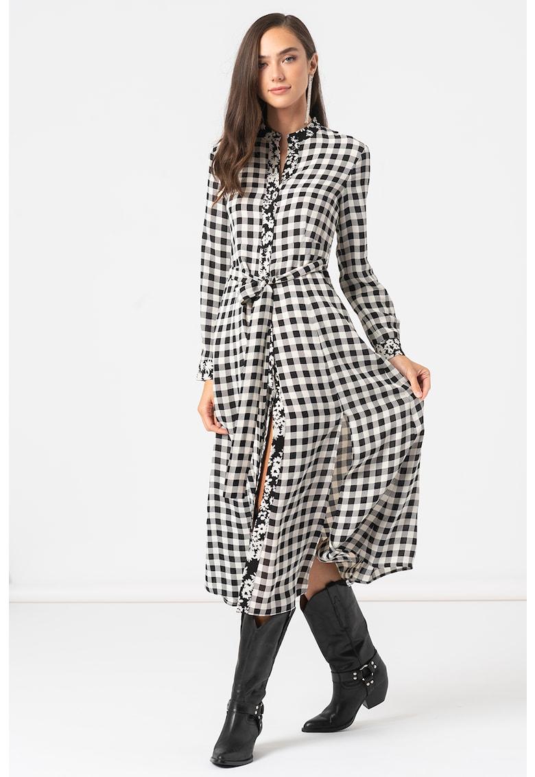 Rochie-camasa cu imprimeu si slituri laterale