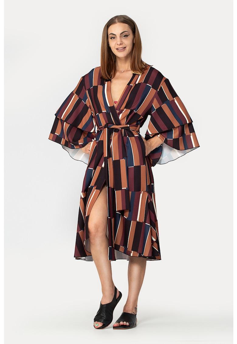 Rochie midi tip kimono cu model