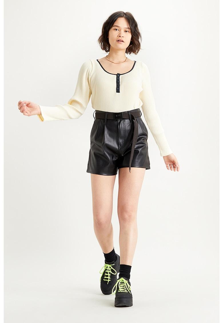 Pantaloni scurti de piele ecologica cu talie inalta