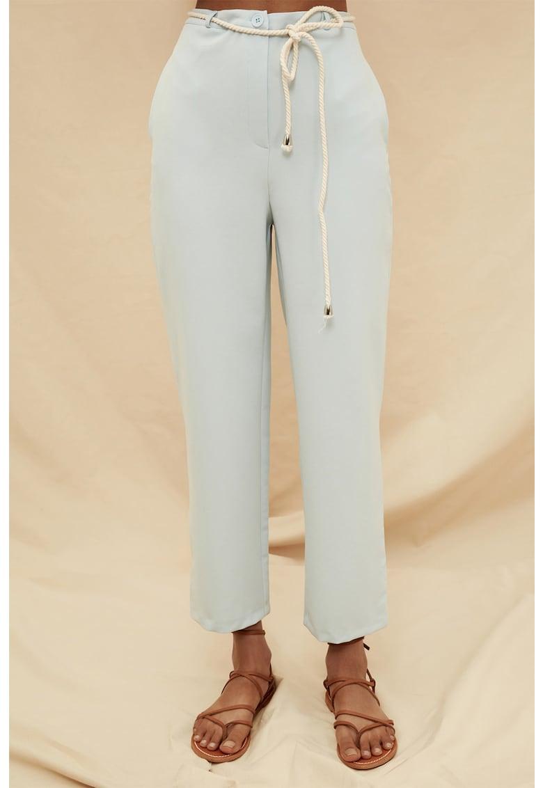 Pantaloni cu talie inalta si buzunare oblice