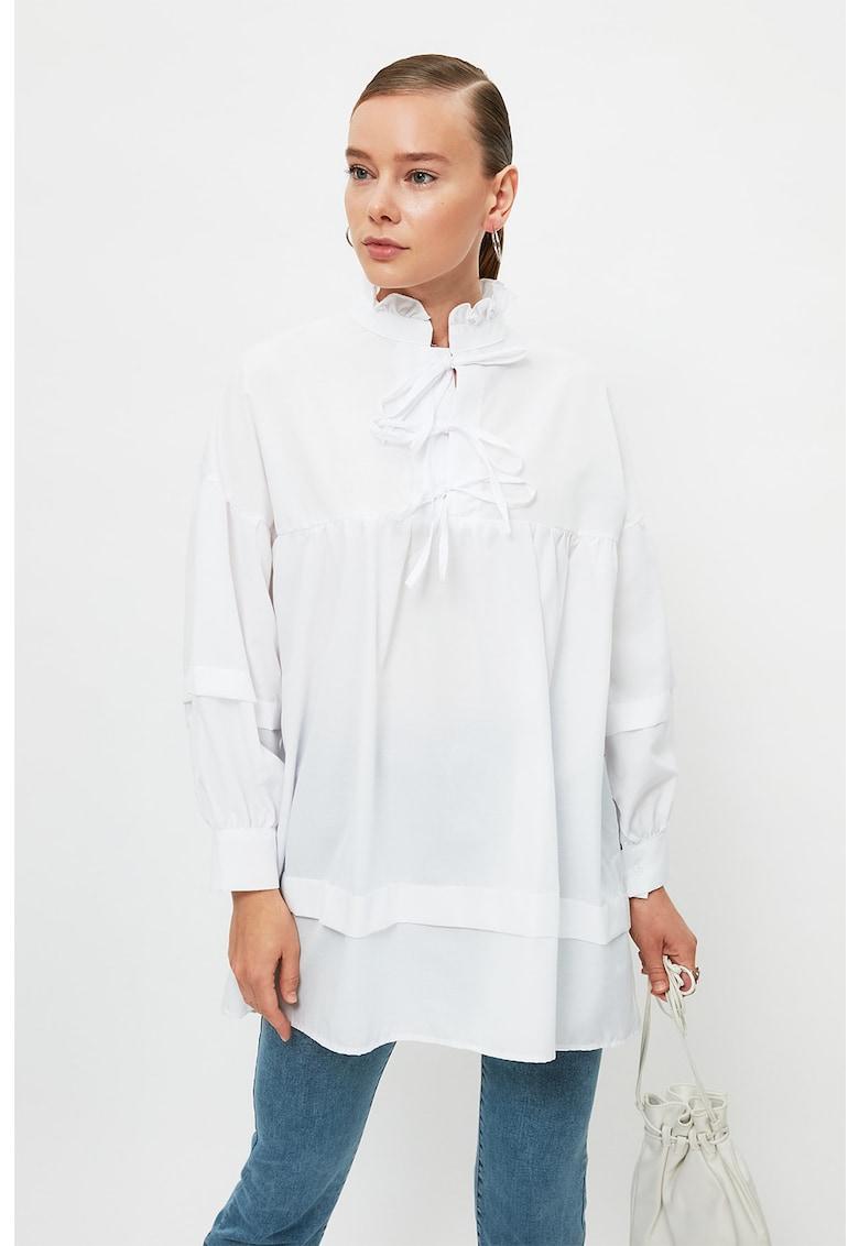 Bluza lejera de bumbac cu umeri cazuti