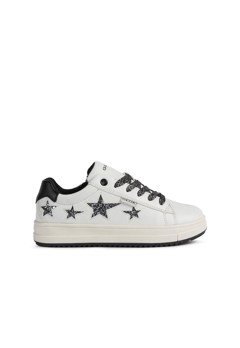 Pantofi sport low-top cu aplicatie stralucitoare in forma de stea Rebecca de la Geox