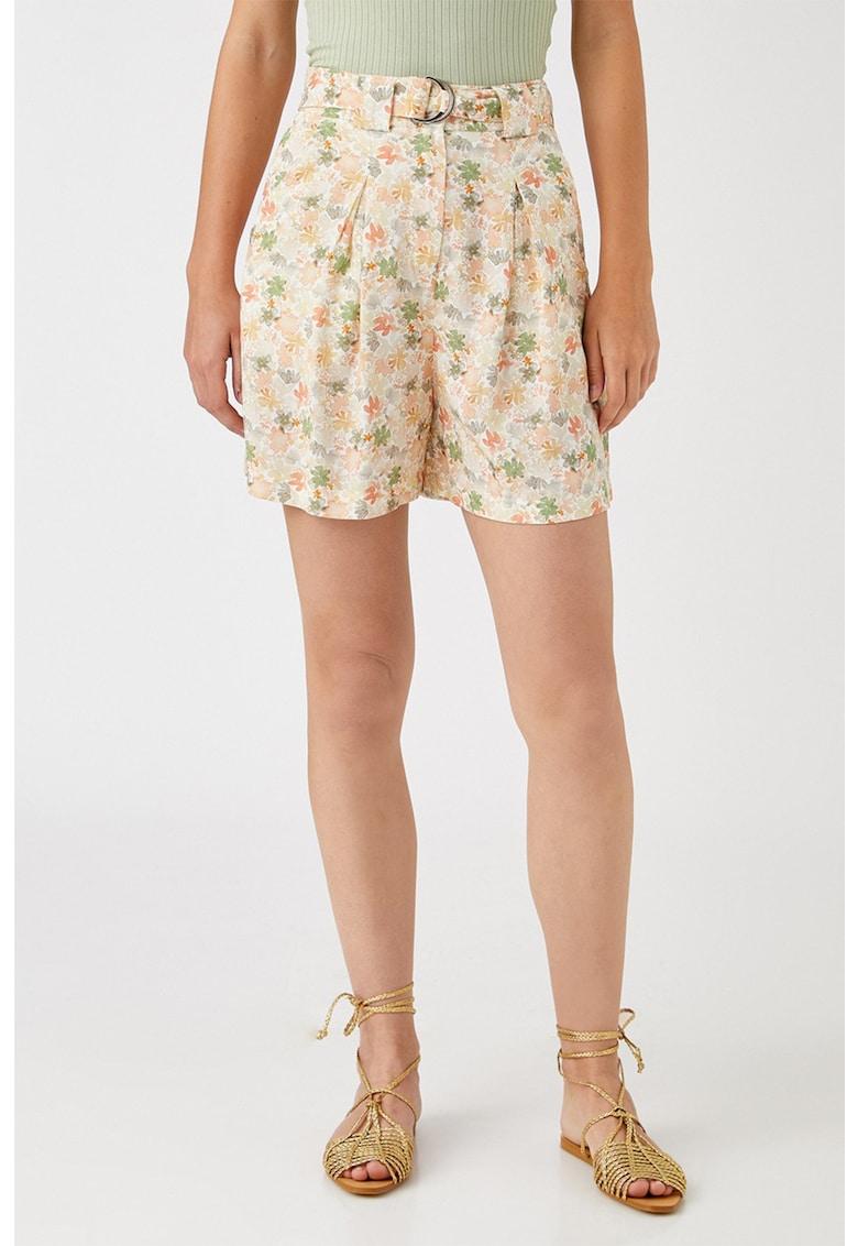 Pantaloni scurti cu talie inalta si imprimeu floral
