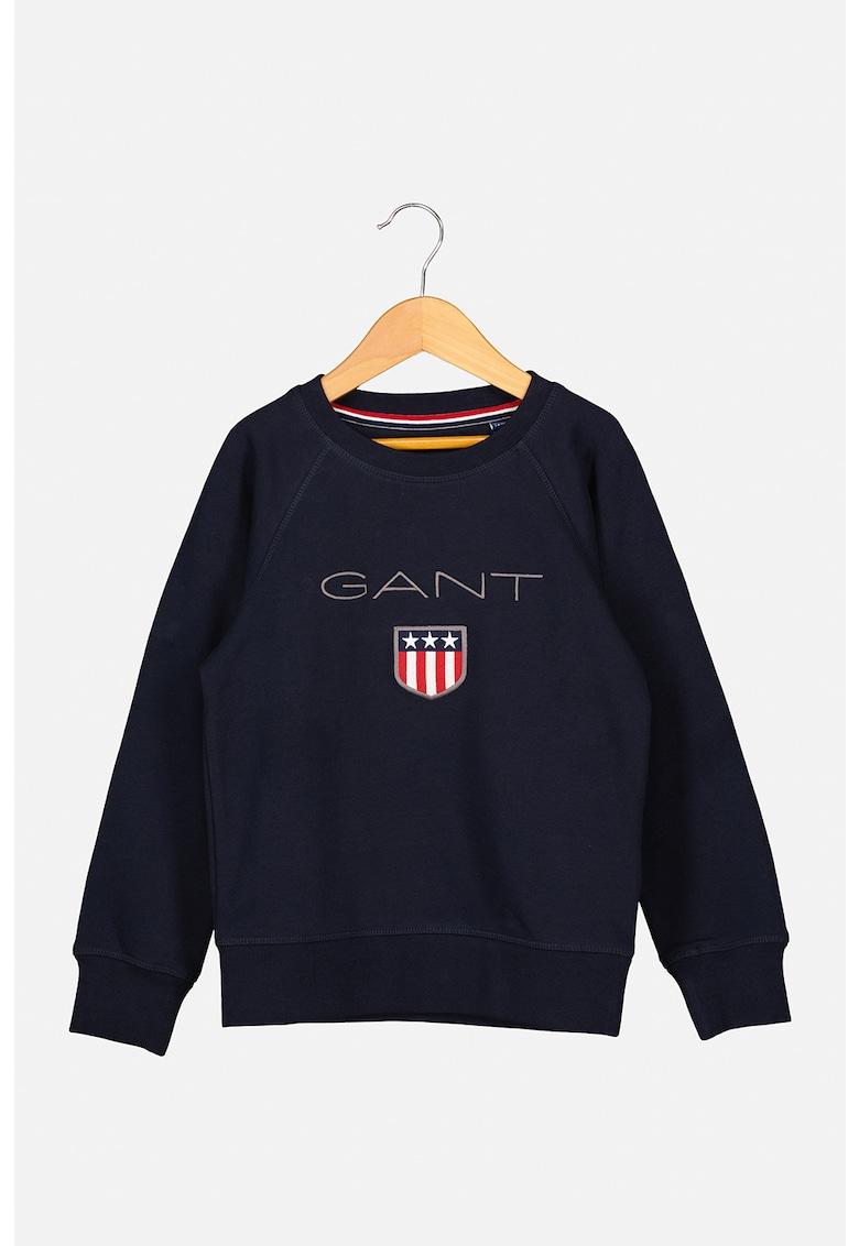 Gant Bluza sport cu decolteu rotund si logo brodat
