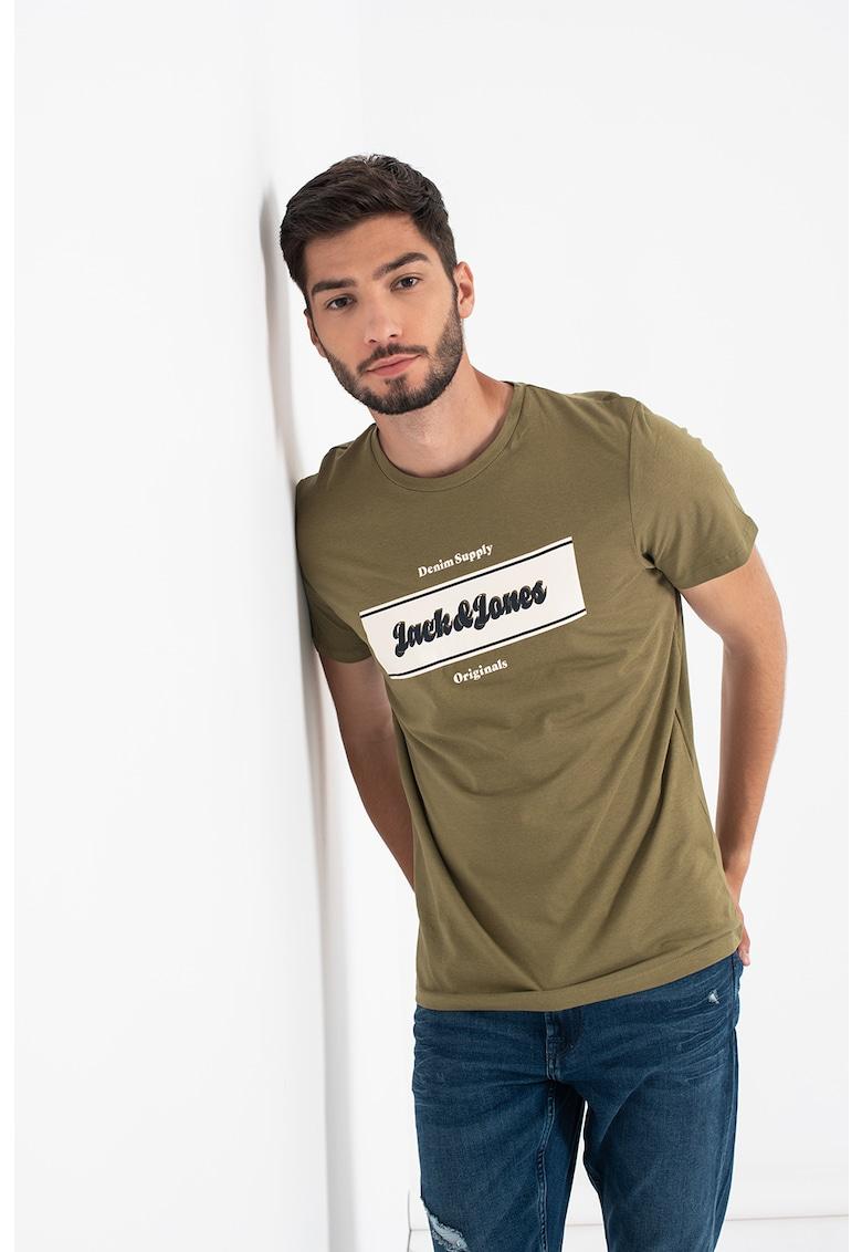 JackJones Tricou cu decolteu la baza gatului si imprimeu logo Booster