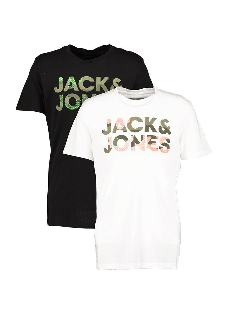 JackJones Set de tricouri cu decolteu la baza gatului si logo supradimensionat Soldier – 2 piese